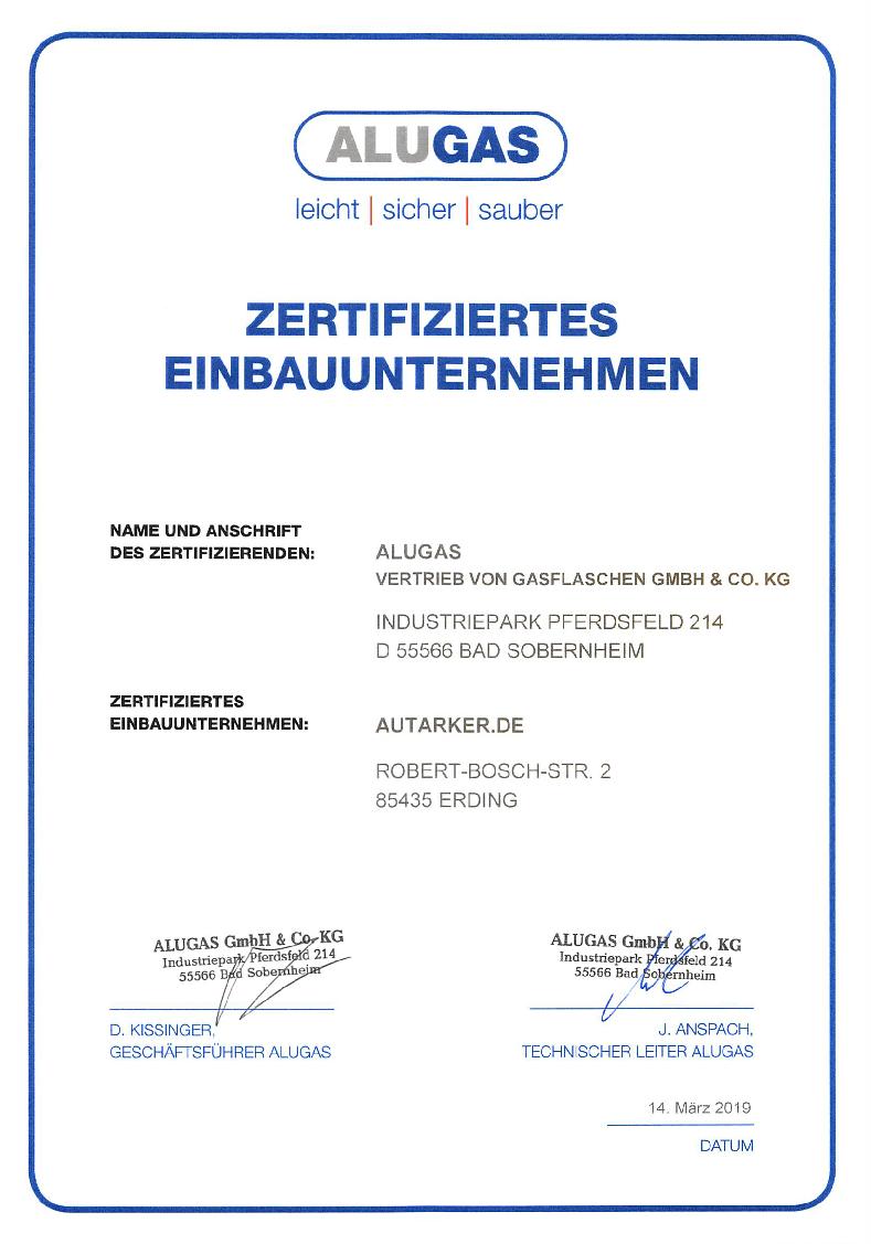 Zertifikat der Firma Alugas vom 14 März 2019 Zertifiziertes Einbauunternehmen: autarker.de