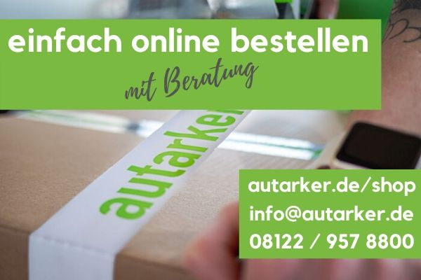 braunes Paket wird mit weißem Paketband mit Schriftzug autarke beklebt. zwei grüne Kästen: links oben mit dem Schriftzug einfach online bestellen mit Beratung, rechts unten mit dem Schriftzug autarker.de/shop info@autarker.de 08122/9578800