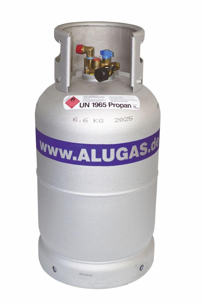 freigestellte Alugas Tankflasche mit Schutzkragen und Schriftzug www.ALUGS.de, aufdruck 6.6 KG 2025, Aufkleber mit rotem Quadrat, das auf der Spitze steht und Flamme im oberen Eck, und Schrift, zu lesen ist UN11965 Propan 11kg