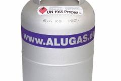 Eine Gastankflasche aus Aluminium wird in den Gaskasten fest eingebaut.